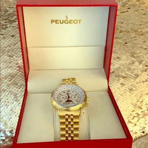 NWT AUTHENTIC Peugeot Unisex Gold Watch
